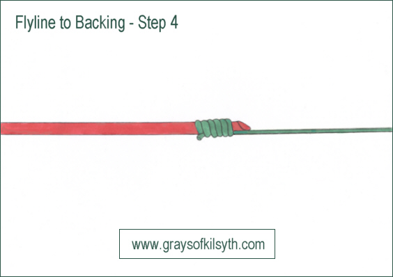 attaching fly line to backing line - step 4